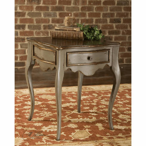 Country French end table, Ash finish