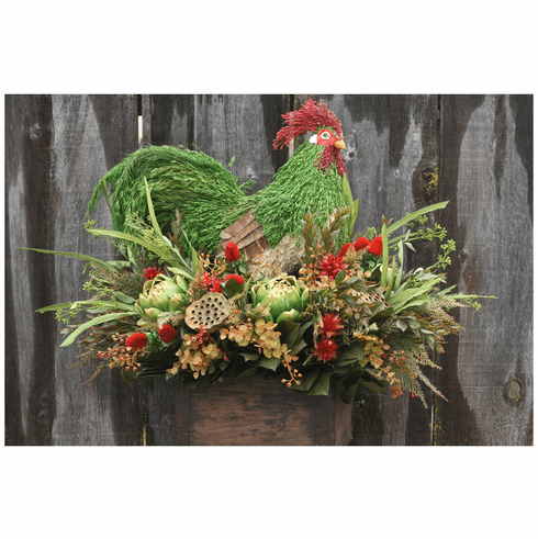 Country Green Rooster Organic Art