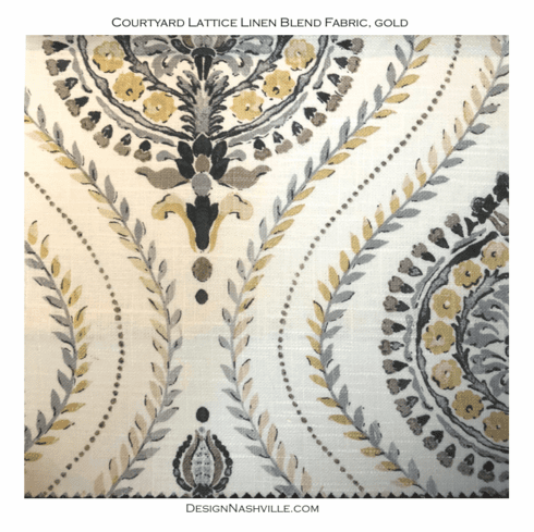 Courtyard Lattice Linen Blend Fabric, <br>gold dust