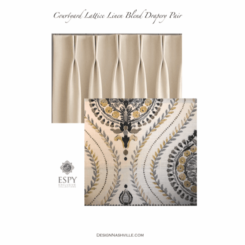 Courtyard Lattice Linen Print Drapery Pair