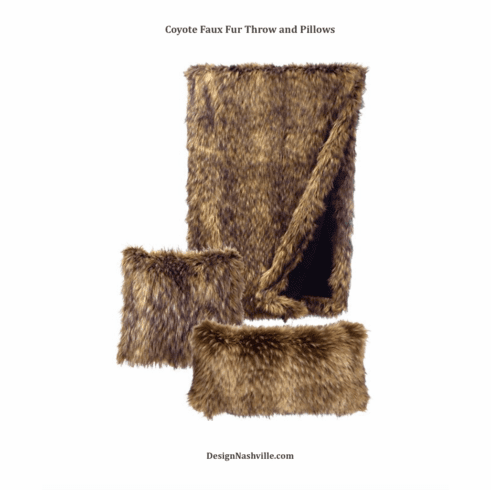 Coyote Faux Fur Throw and Pillows