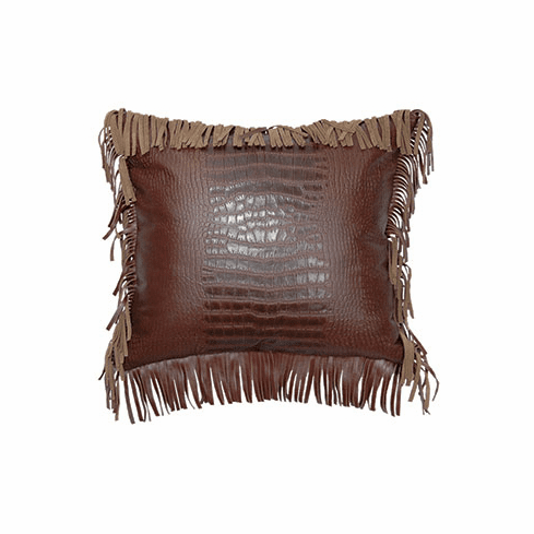 Croc Leather Pillow with fringe