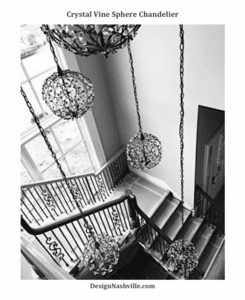 Crystal Vine Sphere Chandelier in a stairway