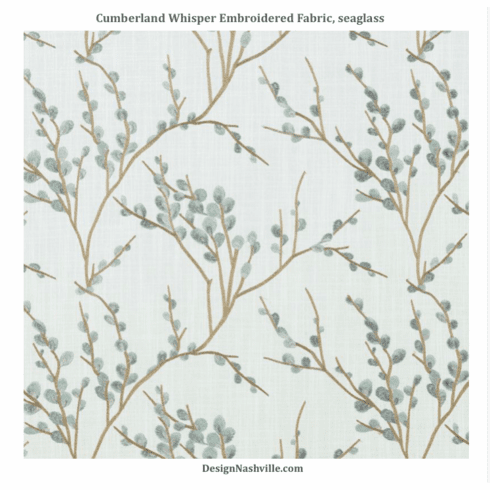 Cumberland Whisper Embroidered Fabric, seaglass