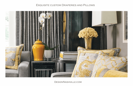 Custom draperies and pillows yellow and grey