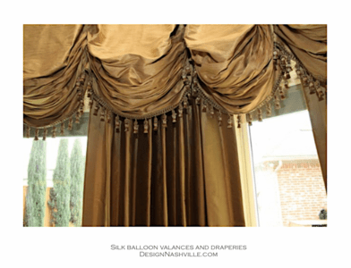 Custom Silk Balloon Valance and <br>Draperies