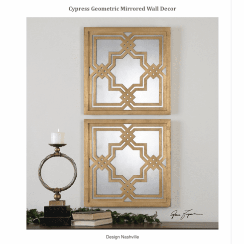 Cypress Geometric Mirrored Wall Decor