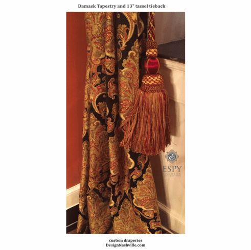 Damask Tapestry and Tassel Tiebacks