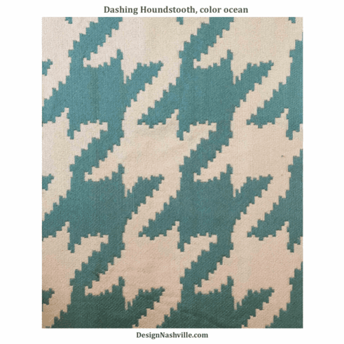 Dashing Houndstooth Tapestry Fabric, color ocean