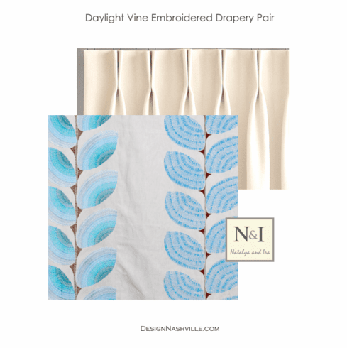 Daylight Vine Embroidered Drapery Pair, blue