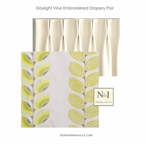Daylight Vine Embroidered Drapery Pair, green