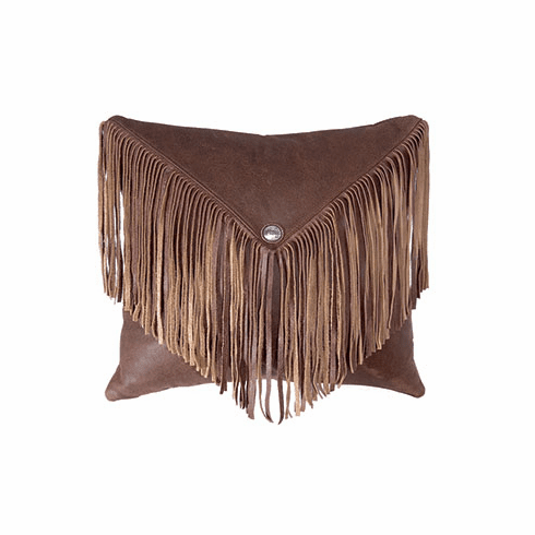 Decadent Fringed Leather Pillow