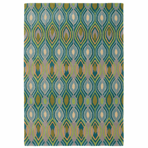 Deco Peacock Grid Rug