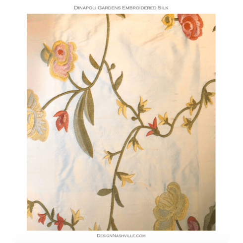 Dinapoli Gardens Embroidered Silk Fabric