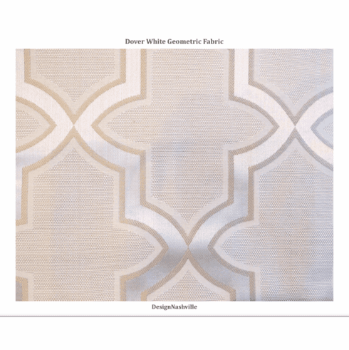 Dover White Geometric Fabric