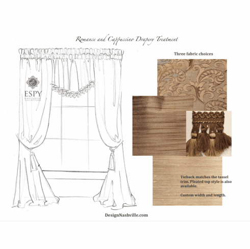 Drapery Treatment Romance and Cappuccino, 3 fabric options