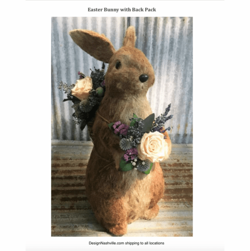 Easter Bunny with Back Pack, preserved botanical figure