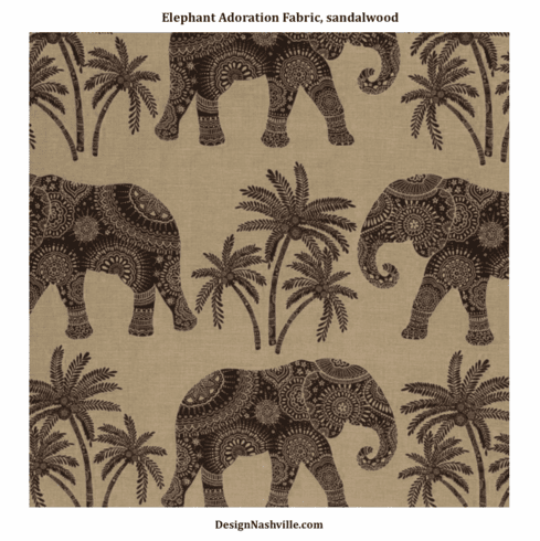 Elephant Adoration Fabric, sandalwood