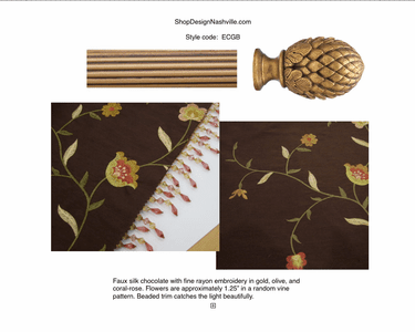 Embroidered Chocolate, Vintage Gold Pole
