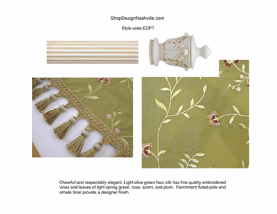 Embroidered Olive, Parchment Poles