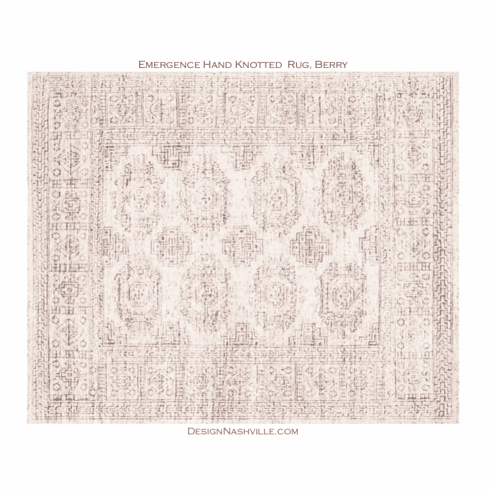 Emergence Hand Knotted Rug, white and berry