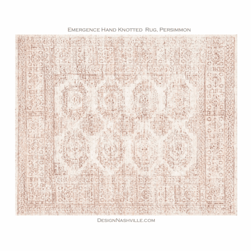 Emergence Hand Knotted Rug, white and persimmon
