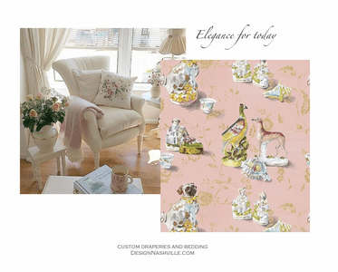 English Country and French Country decorating with pink novelty fabric