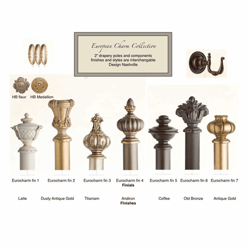 "European Charm 2"" Wood Drapery Pole Set"