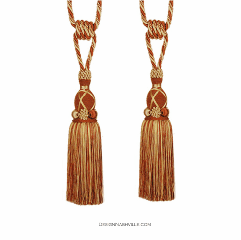 European Rust Brick and Gold Tassel Tieback Pair