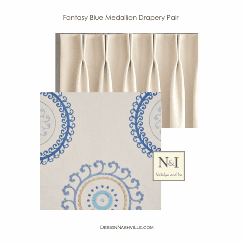 Fantasy Blue Medallion Drapery Pair