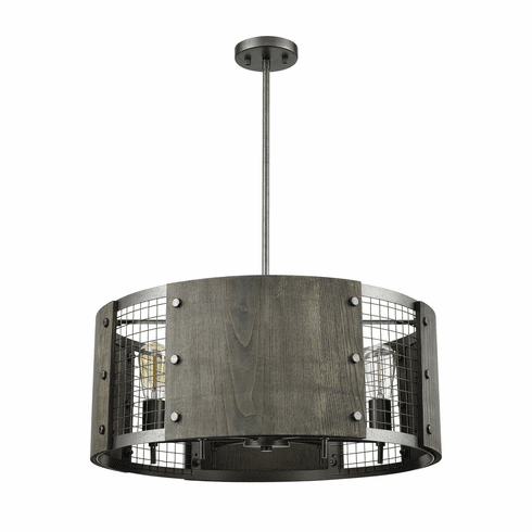 Fenway Ash Grey Wood <br>Pendant Chandelier