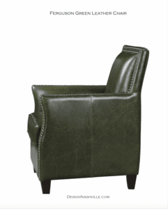 Ferguson Green Leather Chair side view