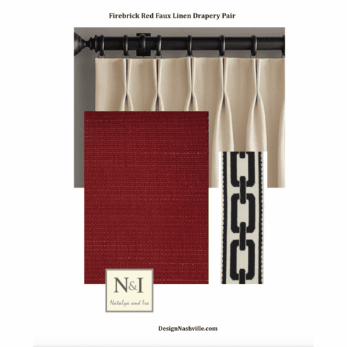 Firebrick Red Faux Linen Drapery Pair