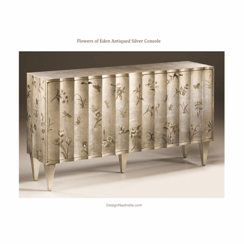 Flowers of Eden Antiqued Silver Console
