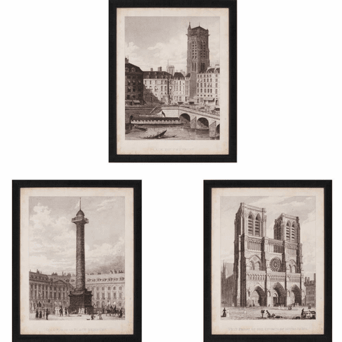 French Architectural Landmarks II, set of 3