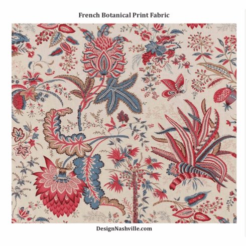 French Botanical Print Fabric SWATCH