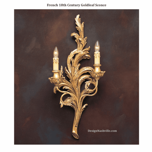 French Graceful Leaves Sconce, antiqued gold leaf
