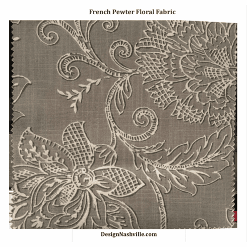 French Pewter Floral Print Fabric SWATCH
