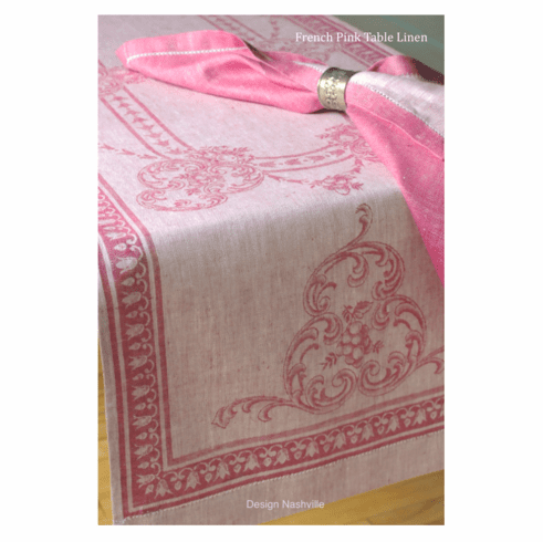 French Pink Linen Table Runner