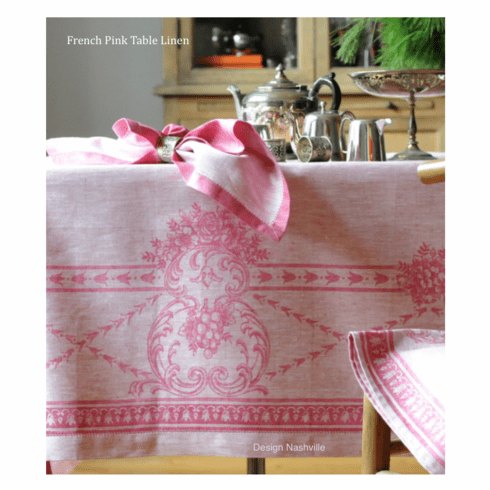 French Pink Linen Tablecloth