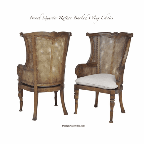French Quarter Cane Back Wing Chair, set of 2 rattan