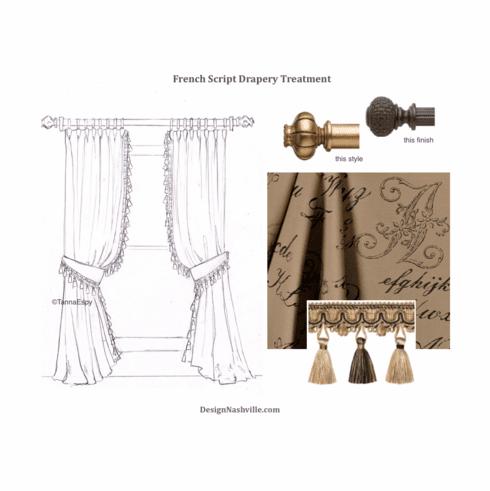 French Script Drapery Treatment, <br>3 fabric options