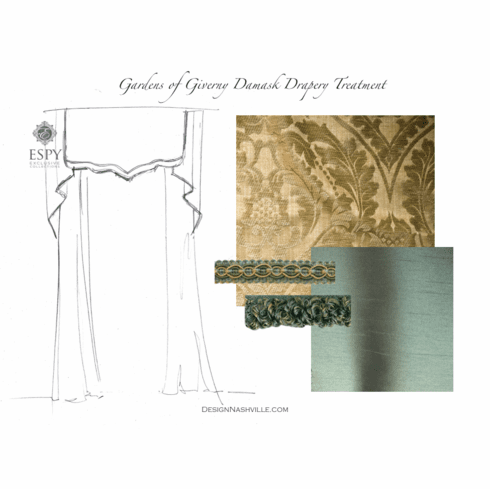 Gardens of Giverny Damask<br> Drapery Treatment