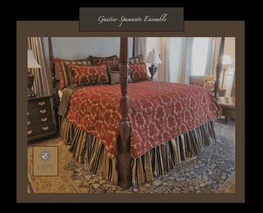 Gautier Damask Bedding, maroon and black