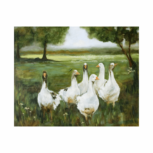 Geese Strolling canvas art