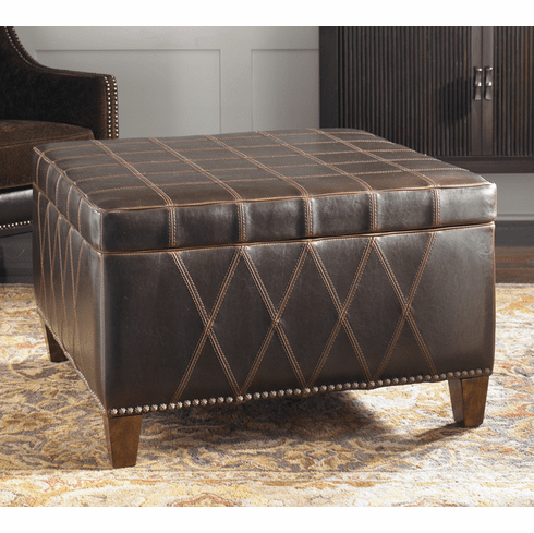 Geometric Beauty Faux Leather Storage Ottoman