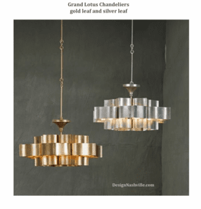 Grand Lotus Chandelier in gold leaf and silver leaf