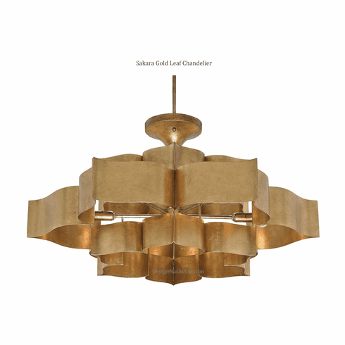 Grand Lotus Gold Leaf Chandelier