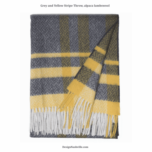 Grey and Yellow Stripe Throw, alpaca lambswool