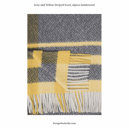 Grey and Yellow Striped Scarf, alpaca lambswool